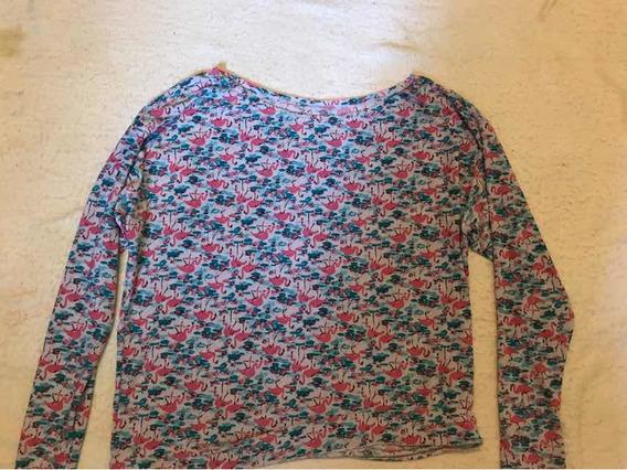 Blusa Estampa Flamingos Azul E Rosa 100/. Poliéster M