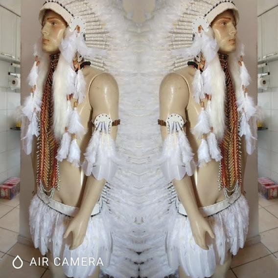 Cocar Indígena Longo Tornozeleiras Braçalete Saia Branco