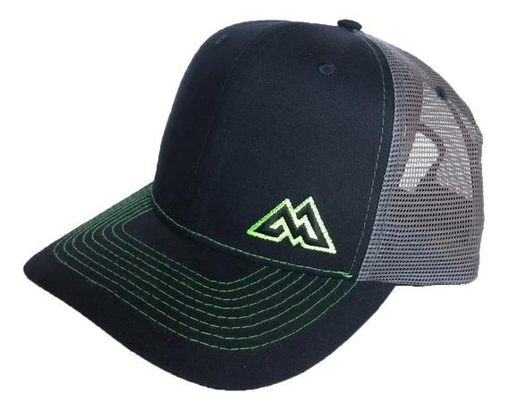Boné Mountain Wear Preto Com Listras Verdes / M013