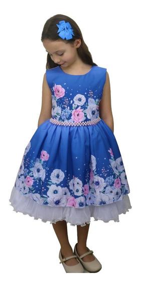 Vestido Florista Daminha Azul Degradê Estampa Floral Com Brilho Primavera Luxo Bn829