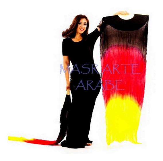Abanicos /danza Arabe De Seda Natural /efecto Fuego