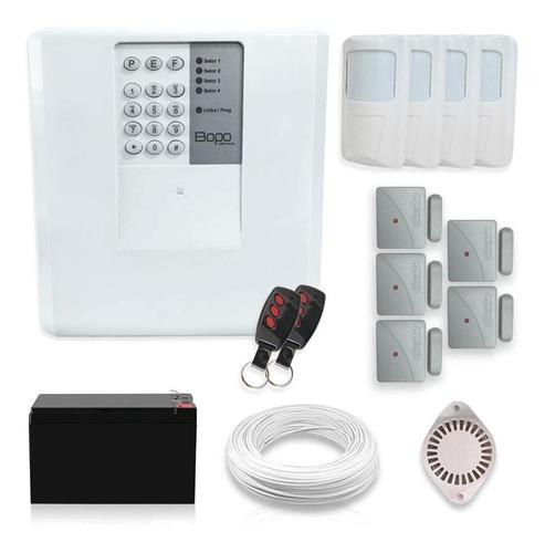 Imagem 1 de 5 de Kit Alarme Residencial Bopo 9 Sensores Discadora Bateria