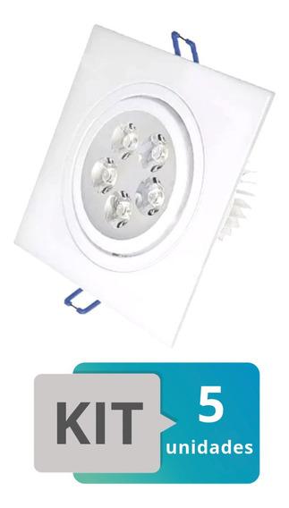 Kit 5 Spot Led Embutir Quadrado Direcionável 5w Branco Quent