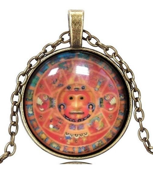 Colar Unissex Cabochão Retro Calendário Maia Asteca Signos