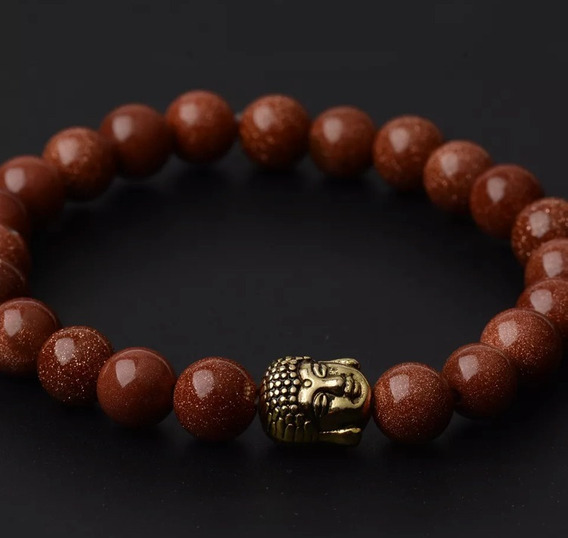 Pulseira Pedra Natural Pedra Do Sol 8mm Entremeio Buda