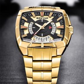 Relógio Masculino Original Luxo Benyar Quadrado Aço + Brinde