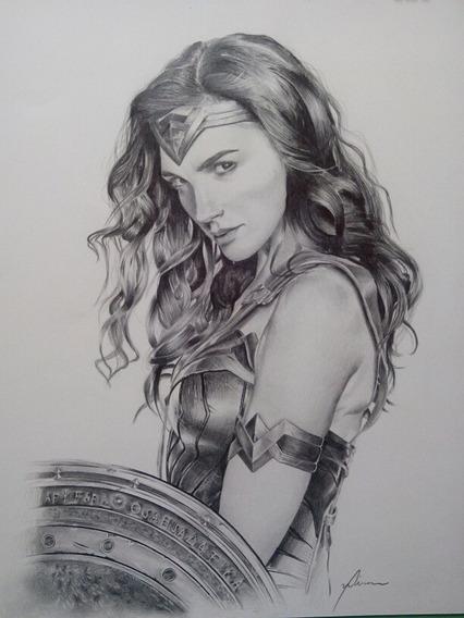 Quadro Mulher Maravilha /wonder Woman, Pintura, Desenho