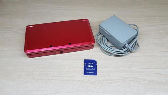 Nintendo 3ds Vermelho 100% + Carregador Original +cartão 2gb