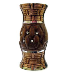 Vaso Redondo De Cerâmica Com Detalhes Em Espelho | Decoração