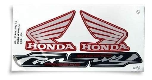 Kit Jogo Adesivo Honda Fan125 Ks 2013 Vermelho + Brinde