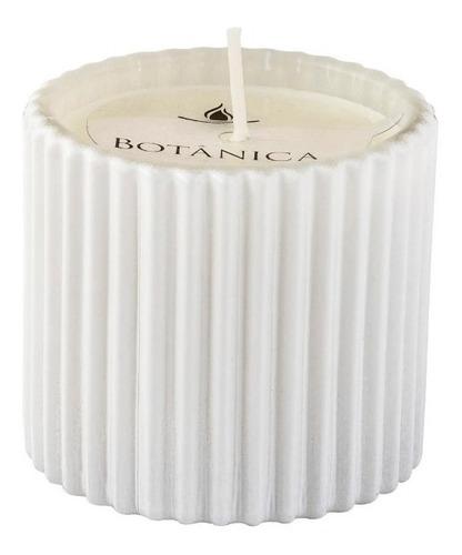 Vela Perfumada Aromática Decorativa Em Vidro Canelado Branco