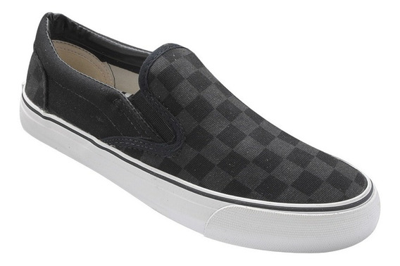 Tenis Freedom Slip On Lona Grid - Preto - K399