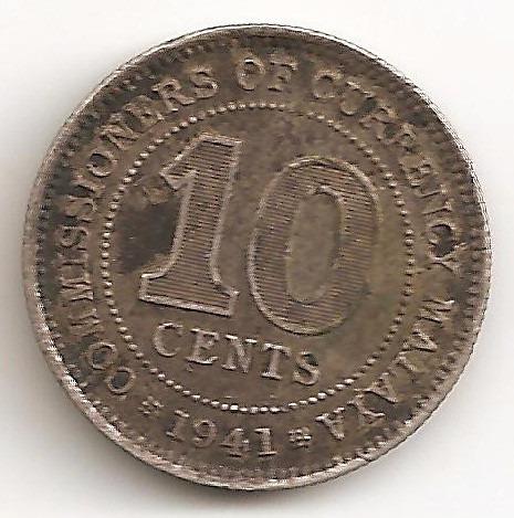 Malaya Britanica, 10 Cents, 1941. Plata. Il Guerra. Vf