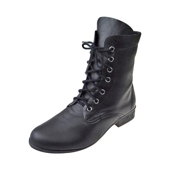 Coturno Ankle Boot Salto Baixo - Preto