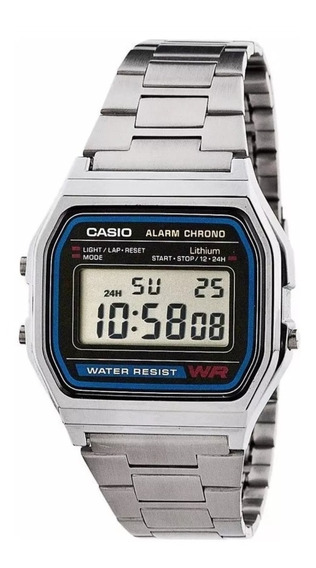 Relógio Casio Vintage Retrô A-158 Prateado + Caixa