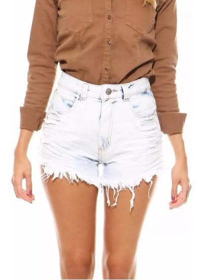 Shorts Jeans Feminino Lady Rock Customizados Cintura Alta