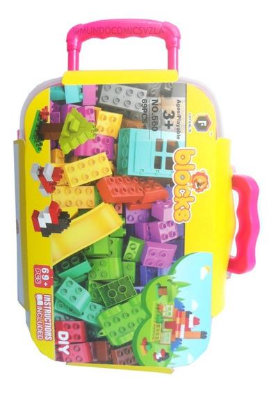 Maleta De 69 Piezas Armables Tipo Mega Blocks Para Niñas