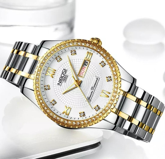 Relógio Nibosi Feminino Dourado E Prata Classic Steel 12x Sj