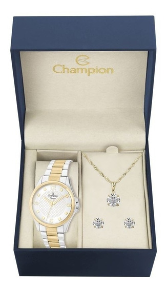 Relógio Champion Cn27563c + Colar + Brincos Nfiscal Original
