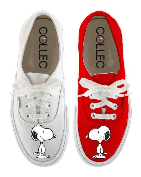 Zapatos Dama Classic Snoopy Feliz Pintados A Mano