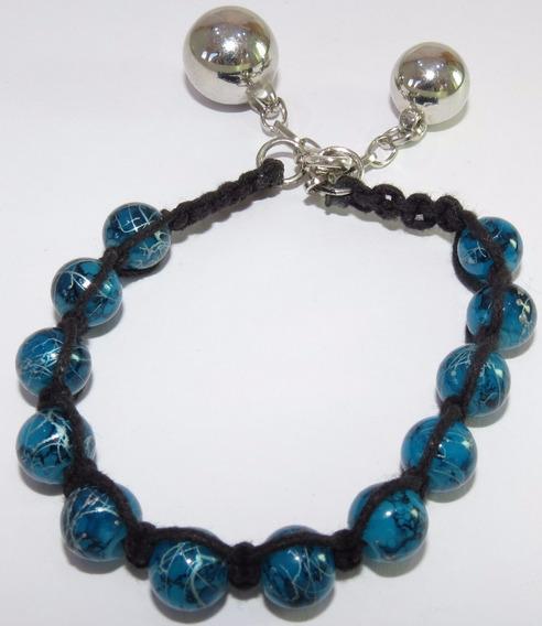 Pulseira Cordão Preto - Pedra Azul Desenhada