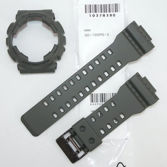 Kit Pulseira + Bezel Gd-100ms 3 Casio G-shock Verde Militar