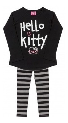 Conjunto Em Malha Calça Legging E Blusa Menina Hello Kitty