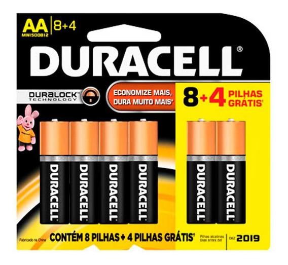 Pilha Alcalina Duracell Aa Ou Aaa 12 Unidades Promoção