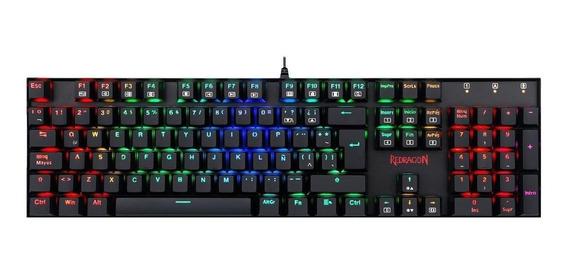 Teclado gamer Redragon Mitra K551 QWERTY OUTEMU Blue português brasil de cor preto com luz RGB