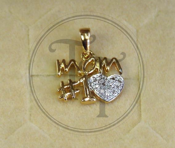 Collar Mom En Plata Esterlina 925/18k Diamante 1 Pts