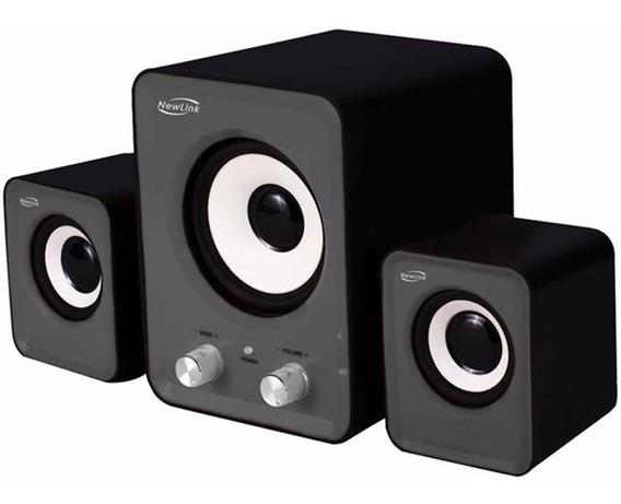 Caixa De Som 2.1 Power Song Com Subwoofer 16w -newlink Sp202