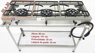 Fogao 3 Bocas Industrial Alta Pressao Kit Instalaça 43x24x11