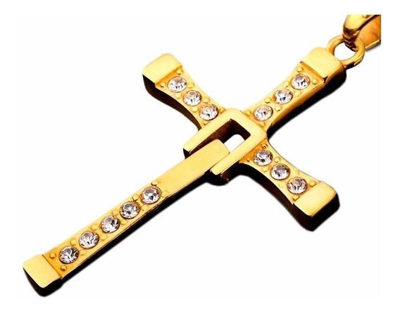 Colar Corrente Ouro/ Prata Com Pingente Cruz