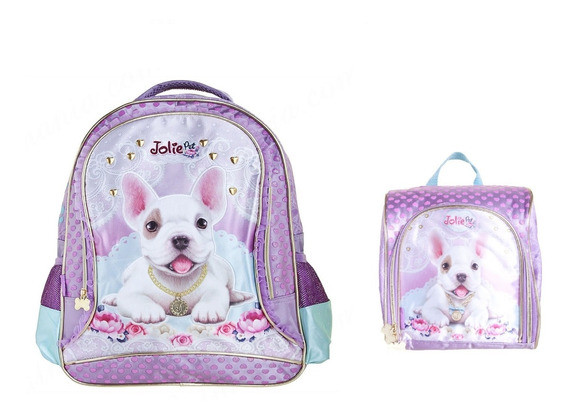 Kit Mochila+ Lancheira Infantil Jolie Pets Puppy Média Roxa