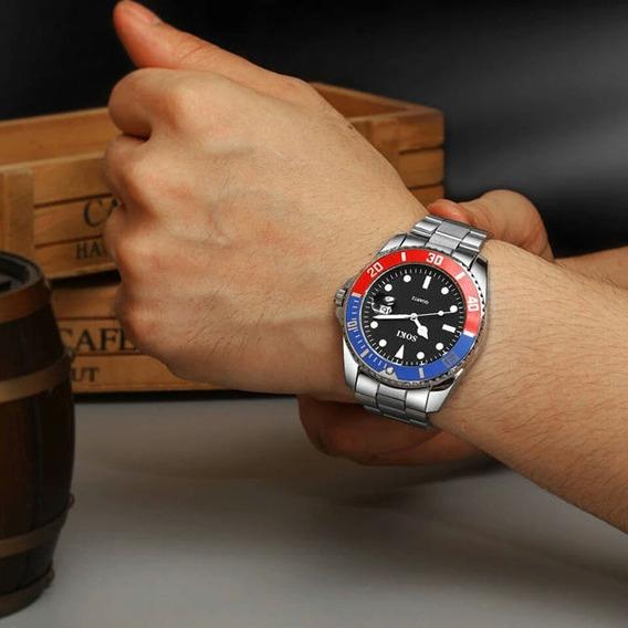 Relógio Prata Original Aço Inox Prova Dagua Frete Grátis