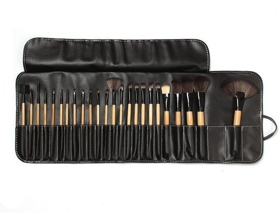 12 Set De 24 Brochas De Maquillaje Color Madera - Mayoreo