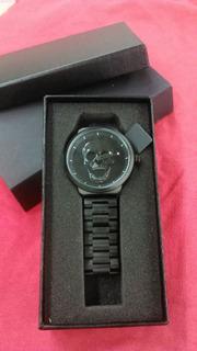 Reloj Negro Con Calabera