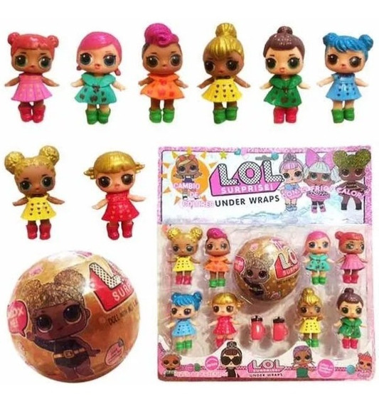 Kit Cartela 1 Bola Surprise + 8 Bonecas Lol Confetti Pop