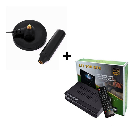 Kit Conversor Digital Tv+ Antena Digital Interna Cabo 5 Mts