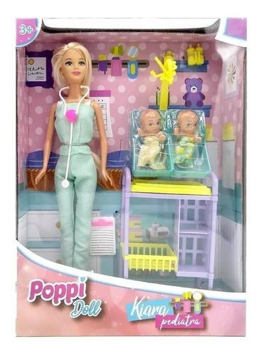 Kiara Pediatra Con Bebes Y Accesorios Poppi Doll Creciendo