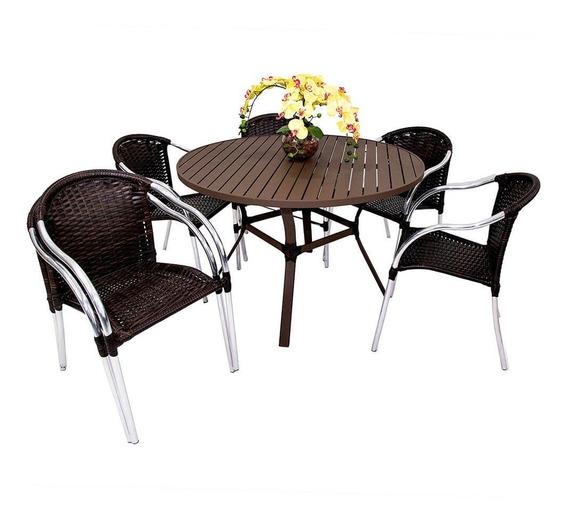 Conjunto De Mesa Em Alumínio C/ 4 Cadeiras Alumínio E Fibras