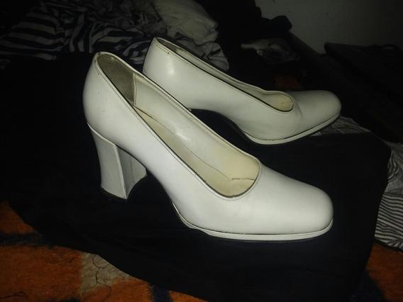 Zapatos Blancos De Cuero 35/36