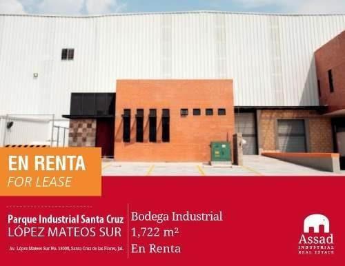 Bodega Industrial En Renta O Venta - López Mateos Sur / Tlajomulco - Parque Industrial Santa Cruz - 1722 M2