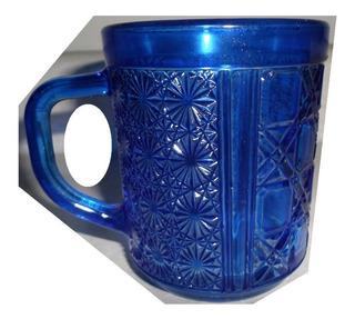 Set 5 Tazas Cafeteras Azul Cobalto Con Grabado Cap 280 Ml