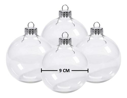 Imagen 1 de 8 de Esferas Trasparentes Navidad Grandes 4pz Cristal Vidrio 9cm