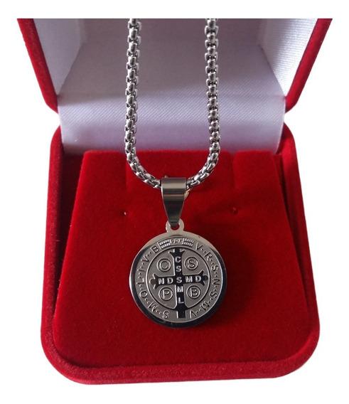 Correntinha Fininha Cordão Medalha São Bento Aço Inox 316 L