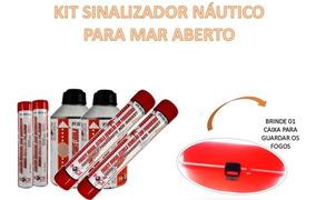 Kit Sinalizador Náutico Mar Aberto Facho Fumígeno Salvatagem