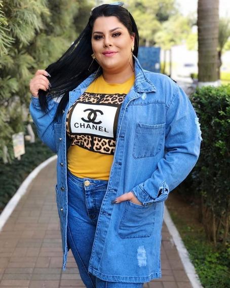 Jaqueta Blusa Casaco Jeans Feminina Max Plus Size Grande
