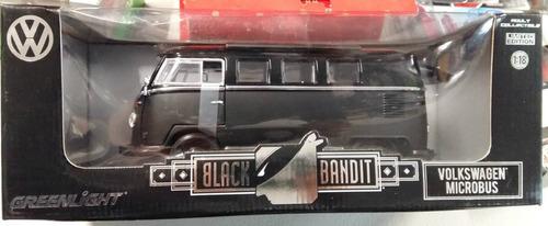 Greenlight Black Bandit Vw Microbus Negra 1:18 Envio Gratis