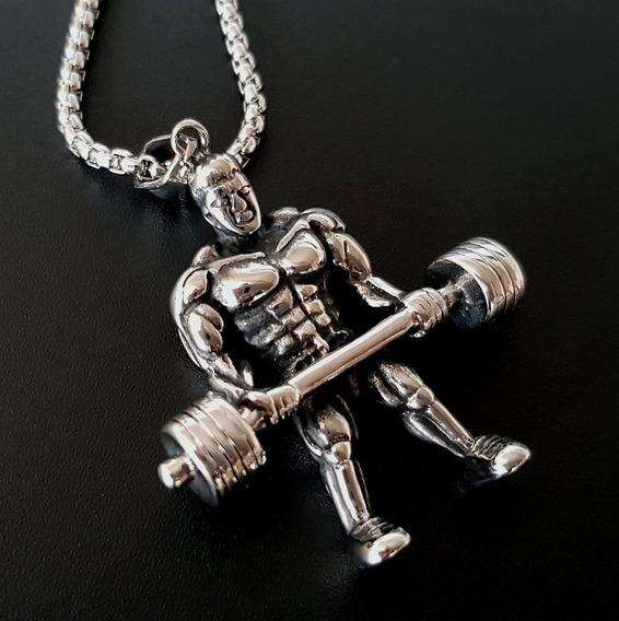 Colar Masculino 100% Aço Esporte Fitness Peso Academia